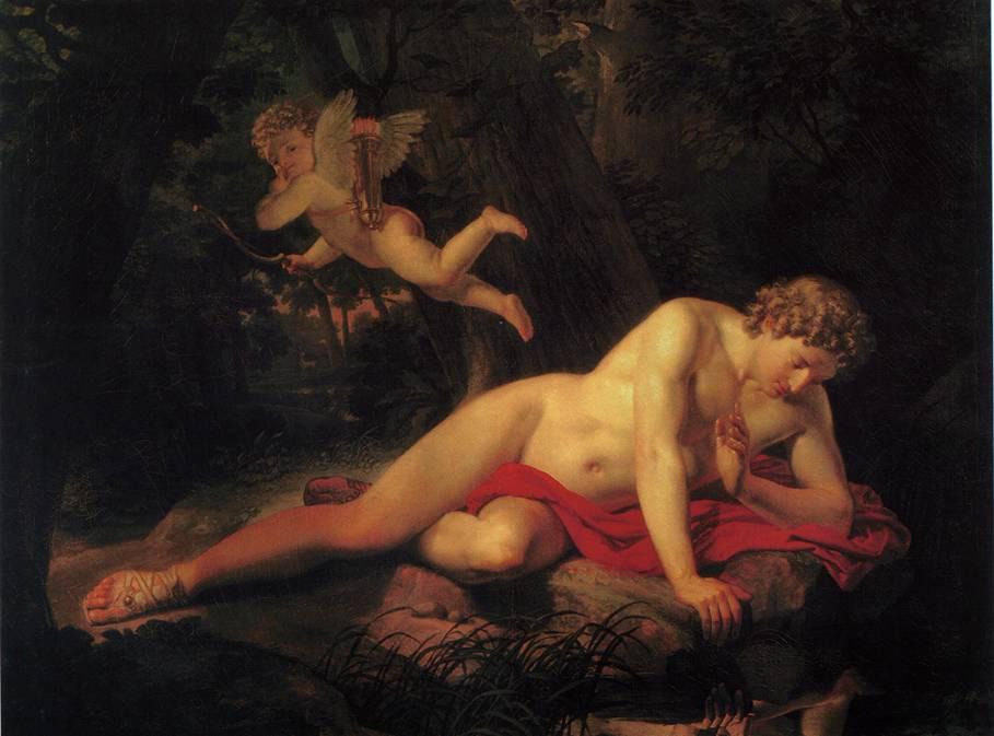 картина Брюллова Нарцисс, смотрящийся в воду