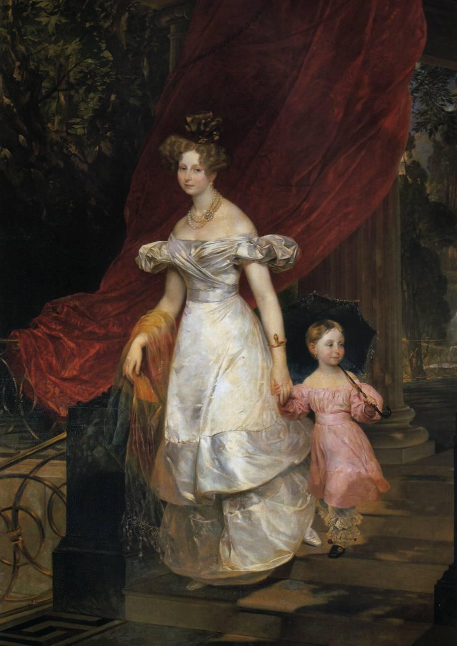 Портрет великой княгини Елены Павловны с дочерью Марией