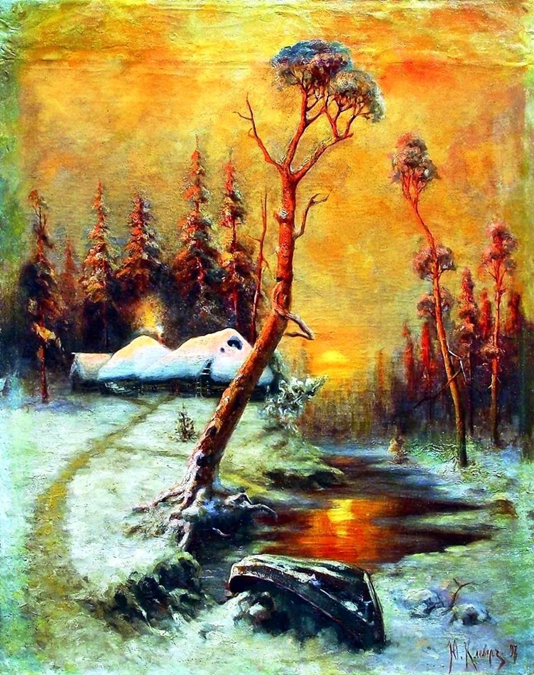 Картина клевера зимний пейзаж с