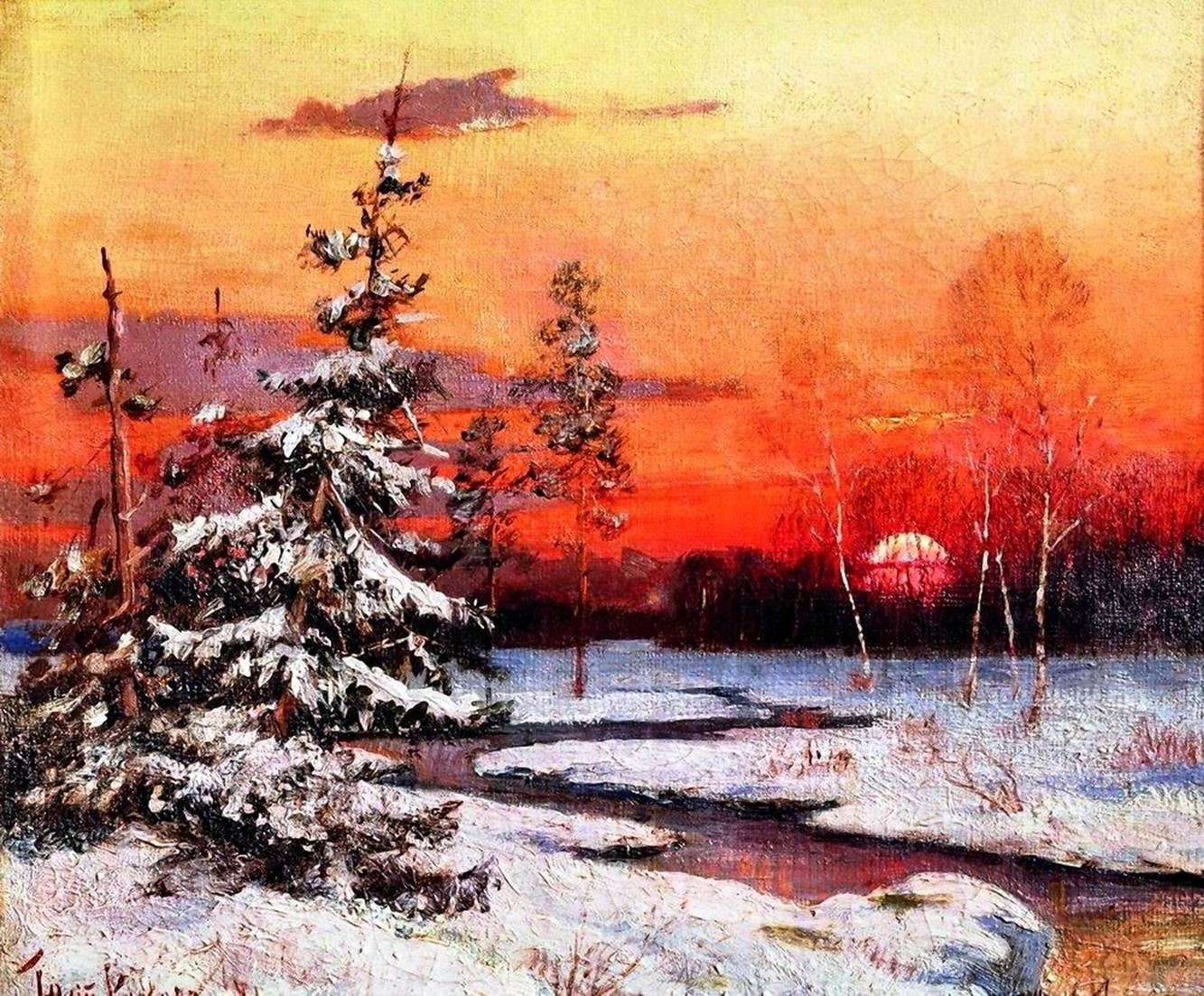 Художник юлий клевер зимний пейзаж