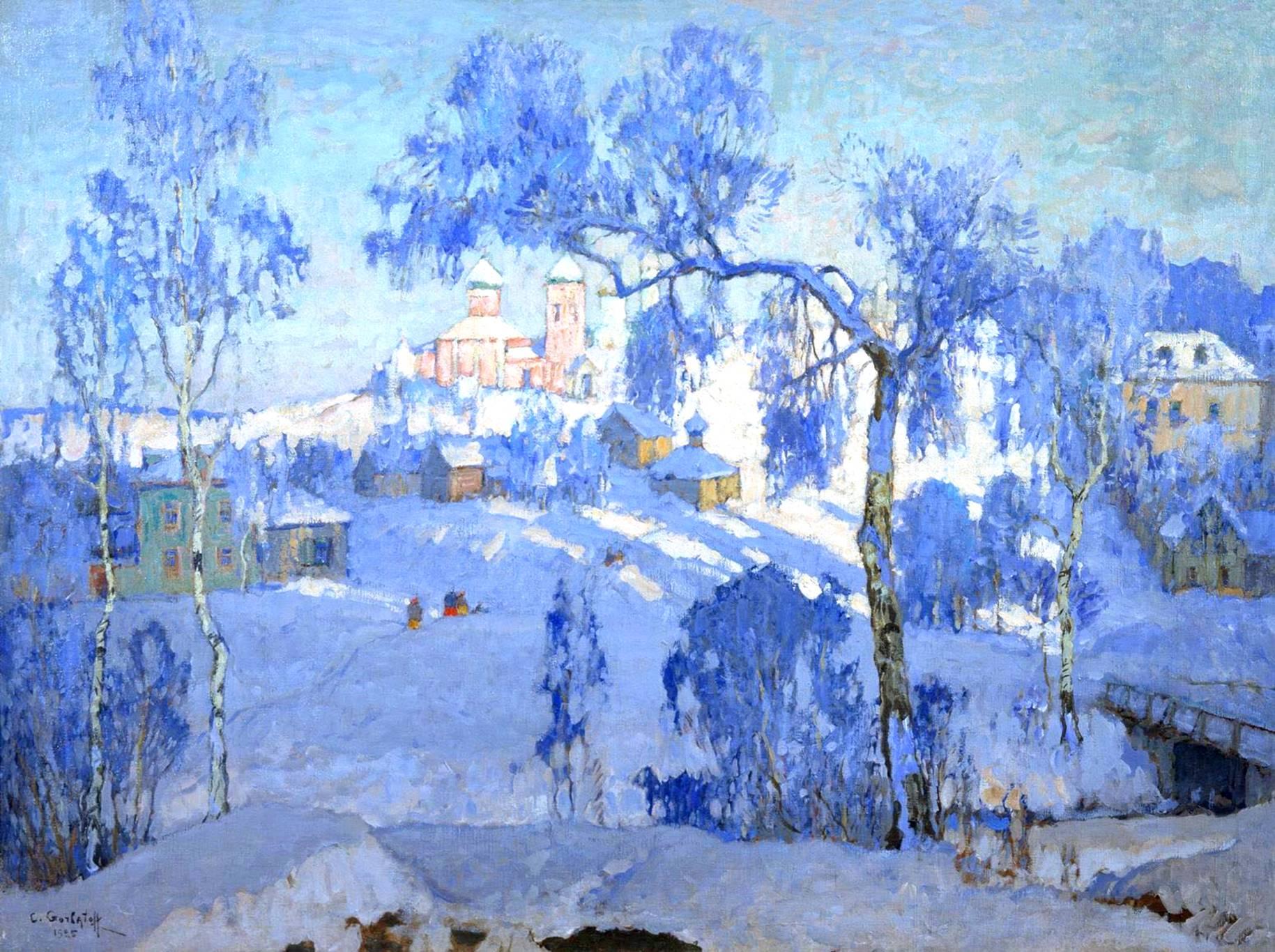 Горбатова зимний пейзаж с церковью