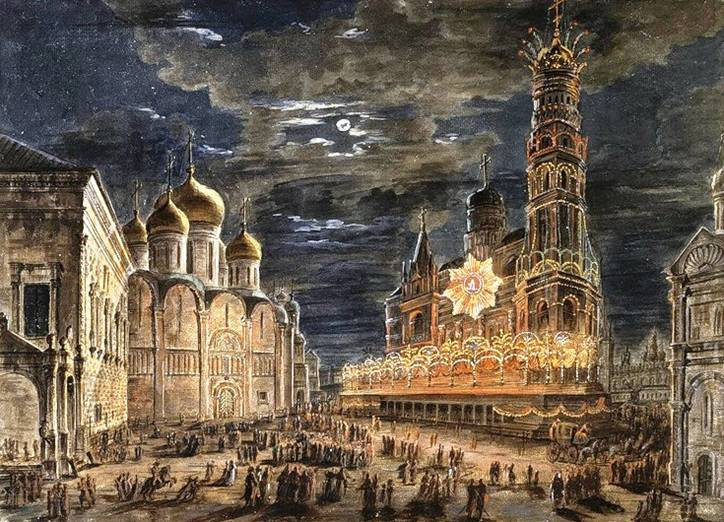 Иллюминация на Соборной площади в честь коронации Александра 1