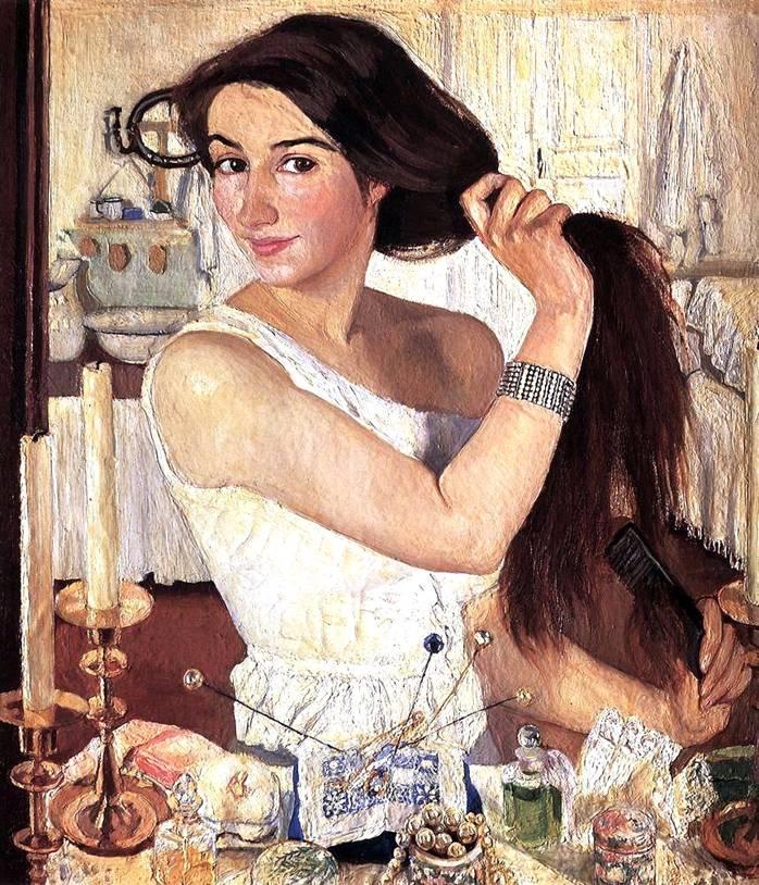 Картина Серебряковой За туалетом Автопортрет 1909 г