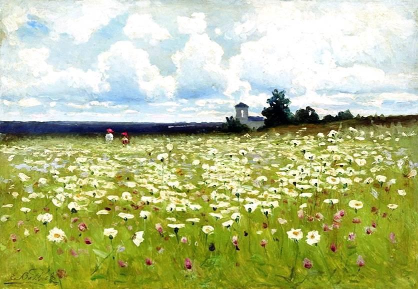 Русский пейзаж поле с ромашками