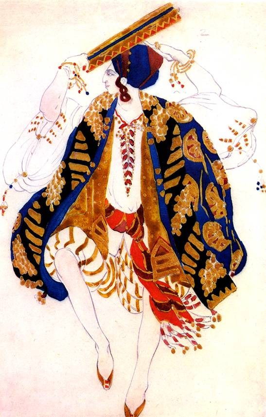 Эскиз костюма для еврейского танца с тамбурином