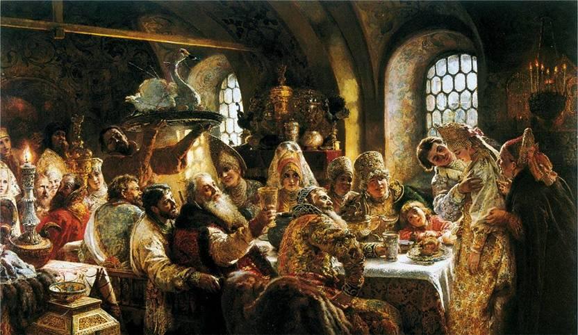 Картина Боярский свадебный пир в 17 веке