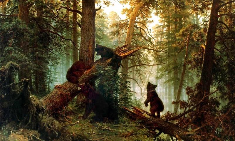 Картина утро в сосновом лесу медведи