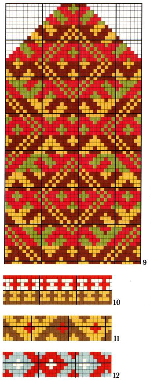 А это схемы орнаментов для варежек от Джессики Тромп.  18.