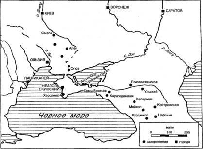 Карта захоронений скифов в